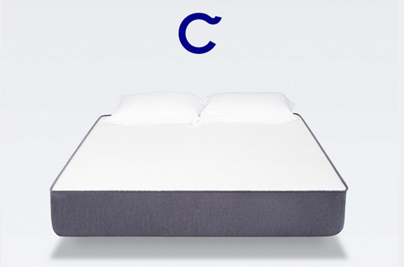 casper mattress review - front view with logo letter