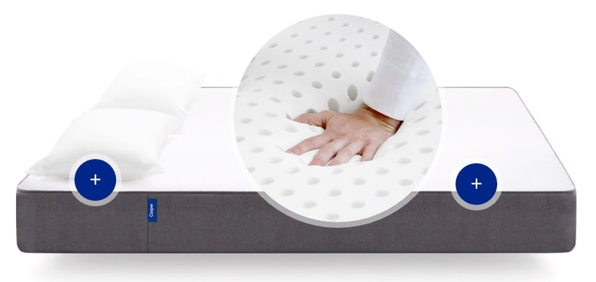 Casper mattress - open cell latext foam top layer