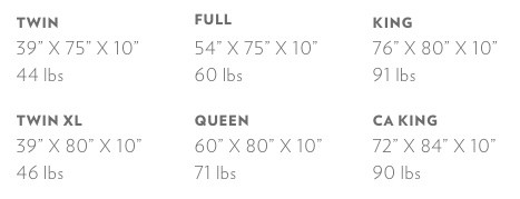 Casper mattress size options