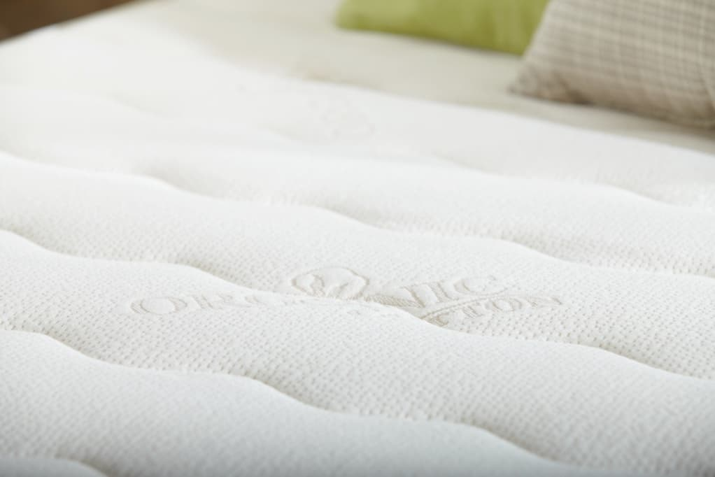 PlushBeds Botanical Bliss Mattress Review - organic cotton top detail view