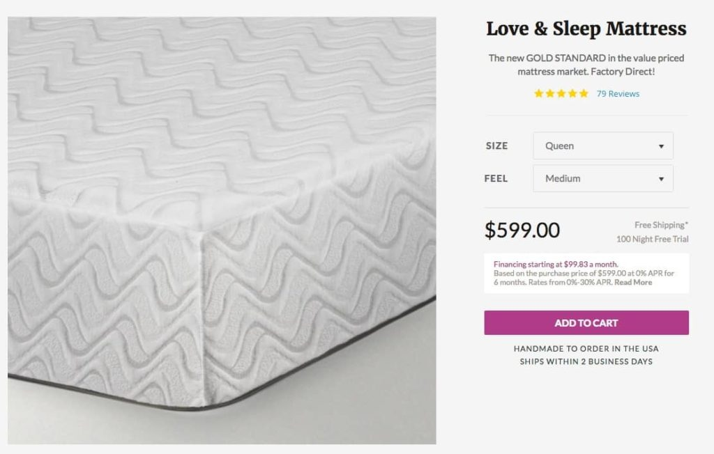 Nest Love and Sleep Mattress Review - order form