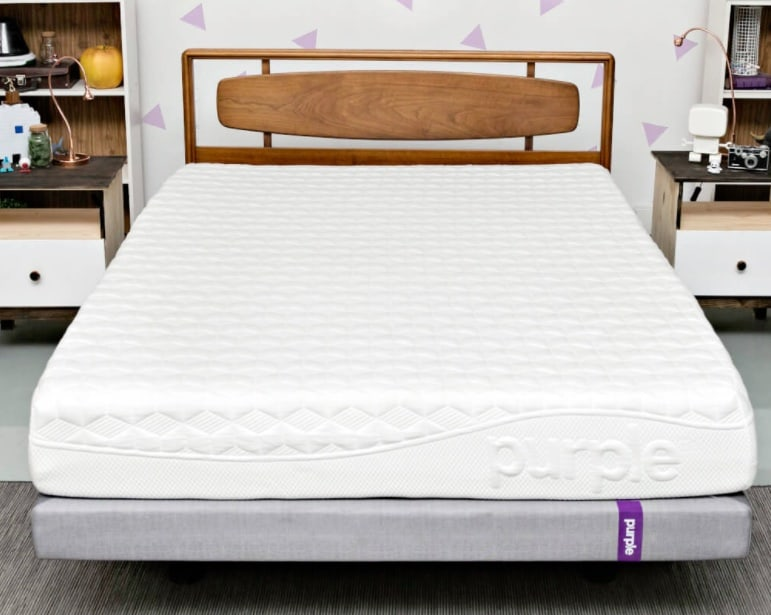Purple Mattress - uncovered in modern bedroom