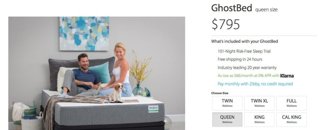 GhostBed Mattress Review - online order form