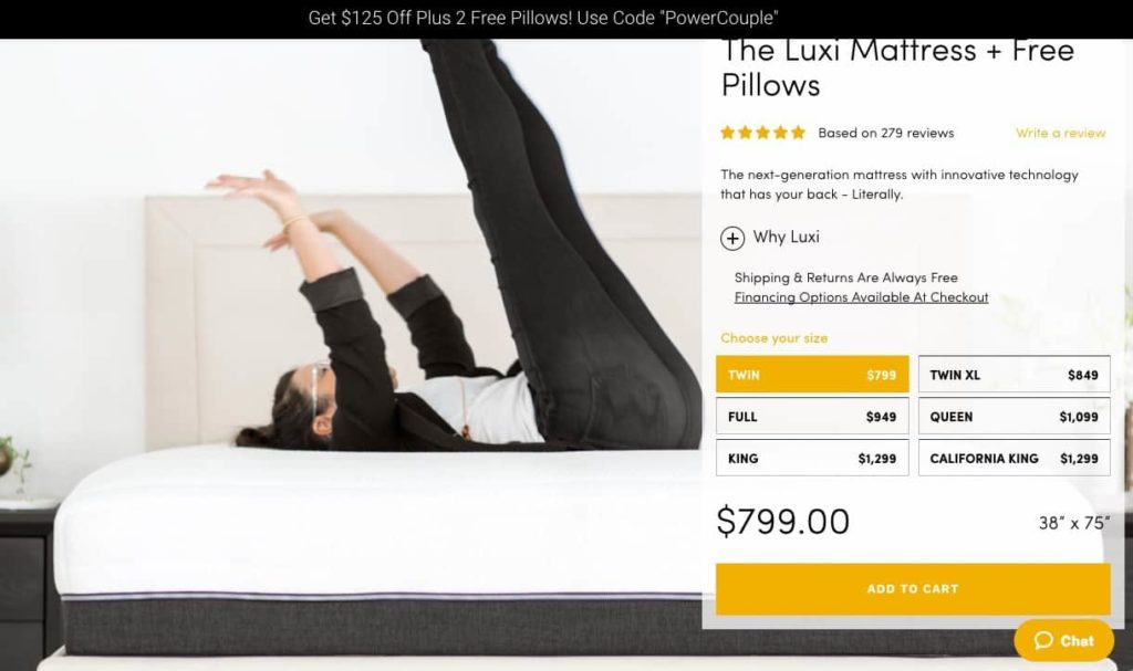 Luxi Mattress Review - order form