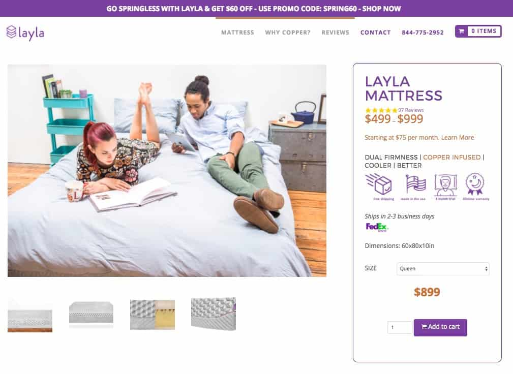 Layla mattress review - order form