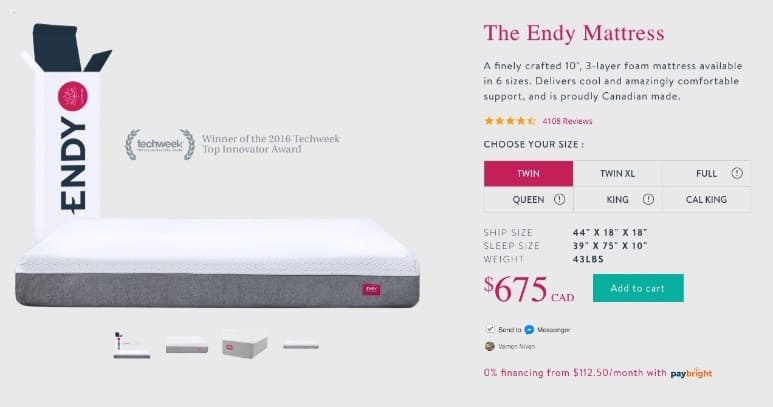 Endy Mattress Review - order form