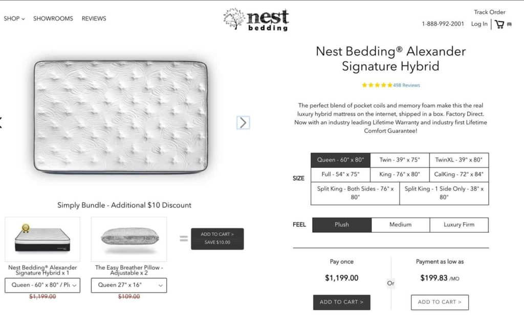 Nest Alexander Hybrid mattress order form