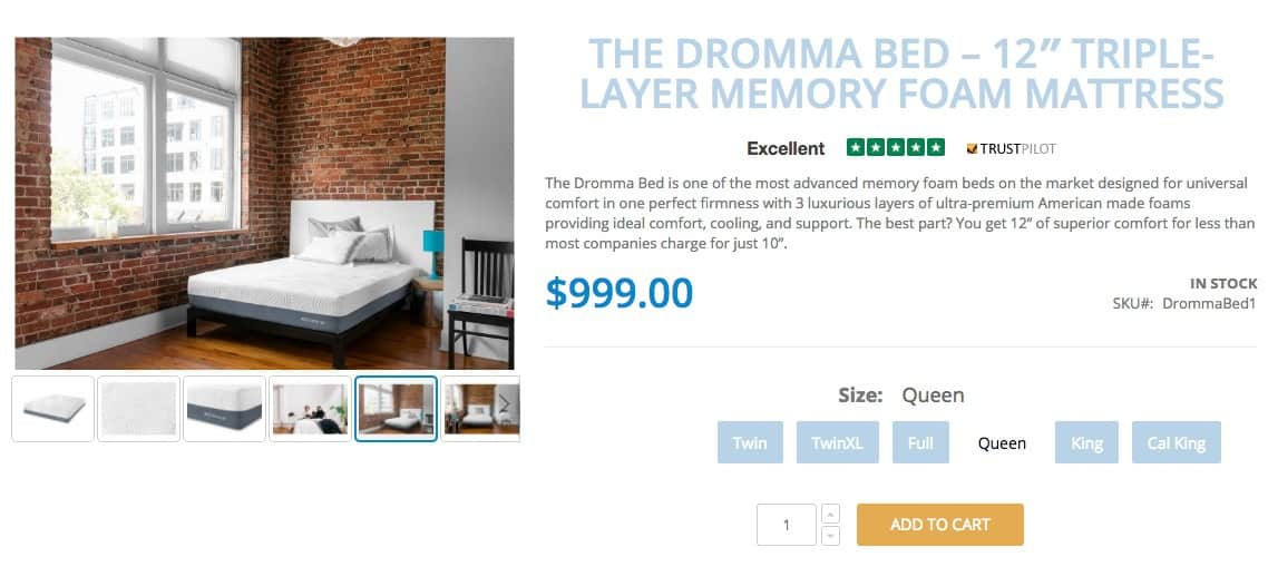 dromma bed review - ordering process