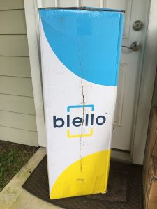 Blello mattress review - shipping box on doorstep 2