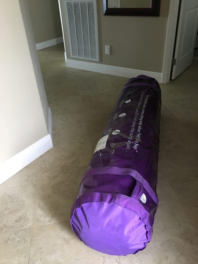 Purple 2-3-4 Mattress Review - delivery roll on floor