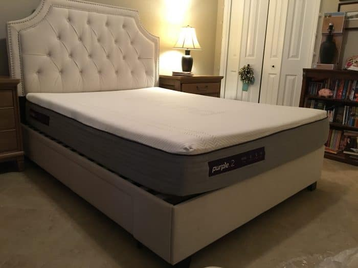Purple 2-3-4 Mattress Review - expanded on bedframe