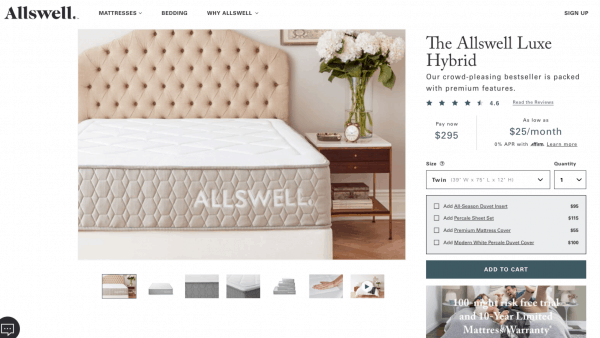 Allswell Luxe Classic Hybrid order screen