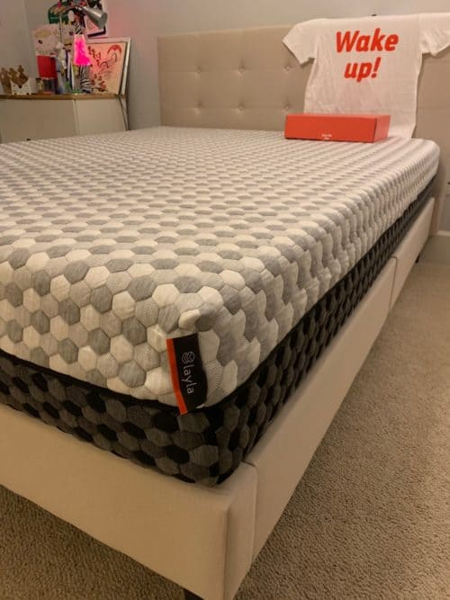 Layla mattress review - corner of bed soft side up