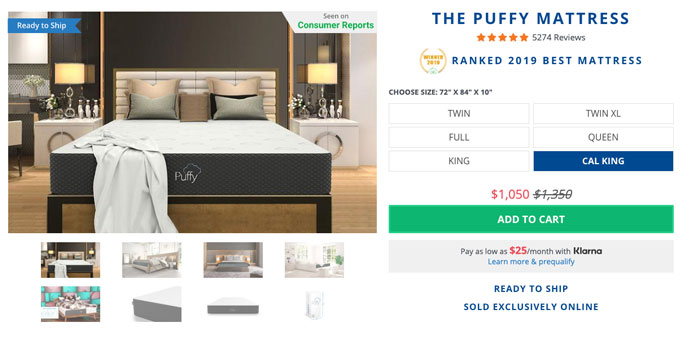 Puffy Mattress Review - order form