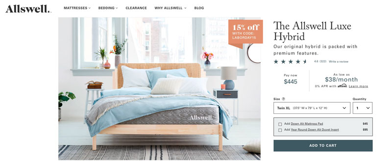 Allswell Luxe Hybrid mattress review - Order page