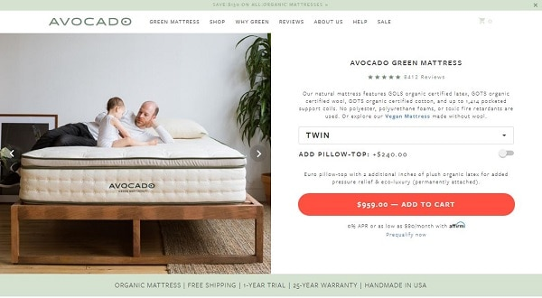 Avocado Green Mattress purchase process