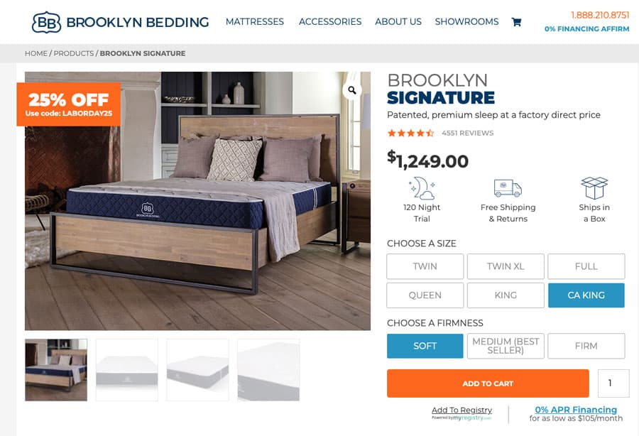 Brooklyn Bedding Signature mattress review - order-form