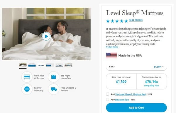 Level Sleep purchase process