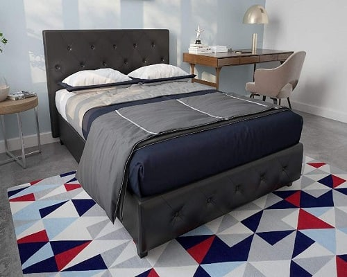 DHP Faux Leather Padded Upholstered Platform Bed
