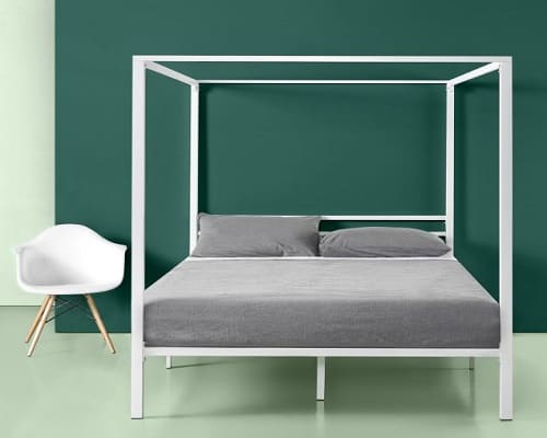 Patricia White Metal Canopy Bed by Zinus
