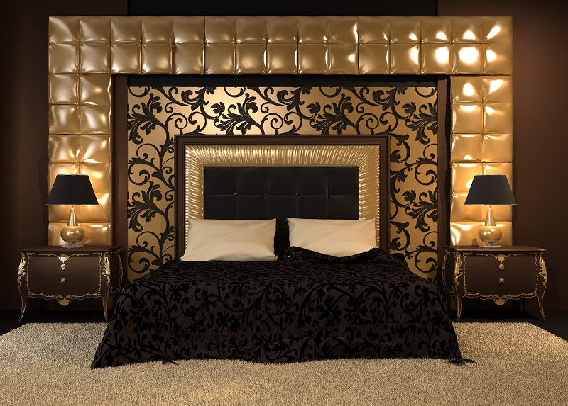 Luxurious Double Bed With Ornamental Design