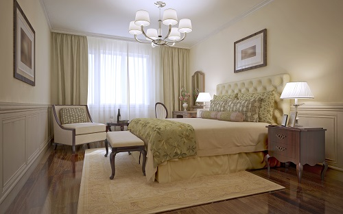 Traditional Bedroom With Monotone Walls