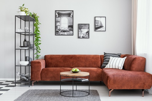 Brown Velvet Corner Sofa