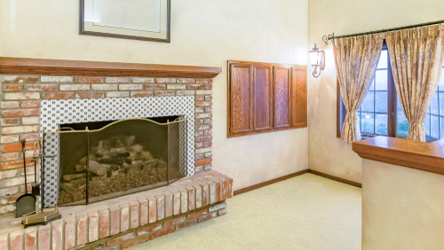 Brick Stoned Bedroom Fireplace