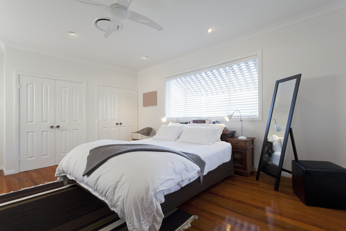 White Bedroom Accented with Black
