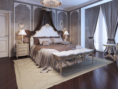 French Country Gray Bedroom with Art Deco Theme