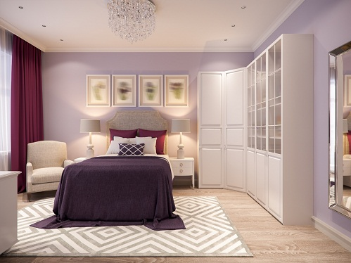 Clutter-Free Transitional Light Lilac Bedrooms