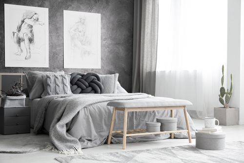 Beach House Bedrooms In Gray with Monochromatic Setting