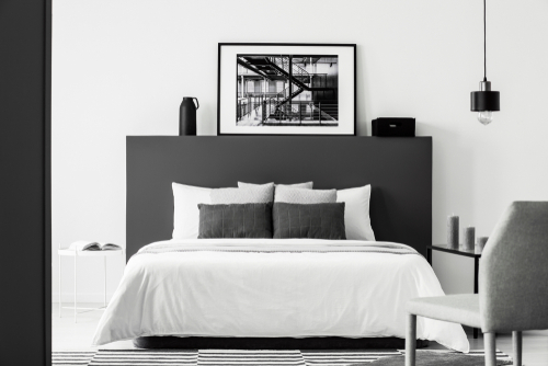 Modern Gray Bedrooms with The contrast of Grey Black