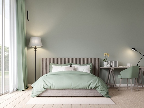 Modern Bedrooms in Khaki Green with Fabric Chair