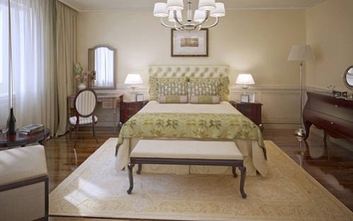 Farmhouse Bedrooms in Khaki Green With Olive Bedding