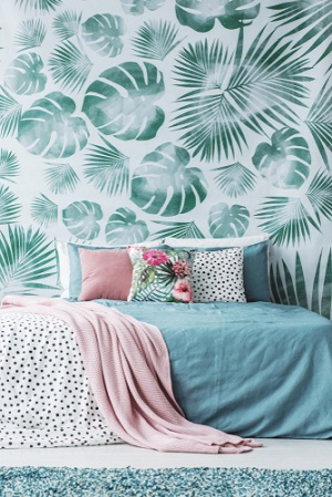 Beach House Bedrooms in Khaki Green with Patterned Wallpaper