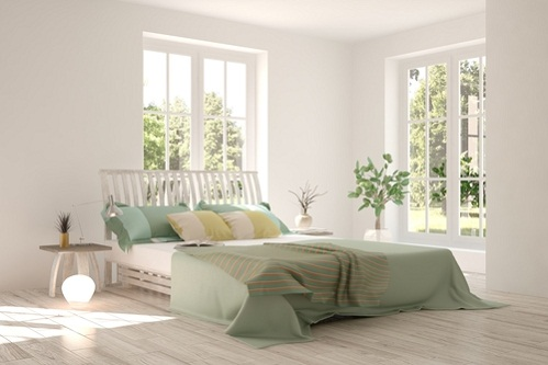 Scandinavian Bedrooms in Khaki Green with Striped Patterns