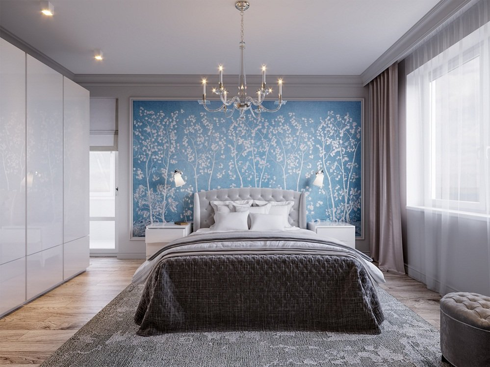 Contemporary Bedrooms in Light Gray & Blue