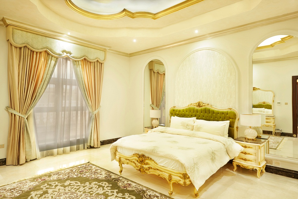 French Country Bedrooms in Lemon Yellow with Antique Setting