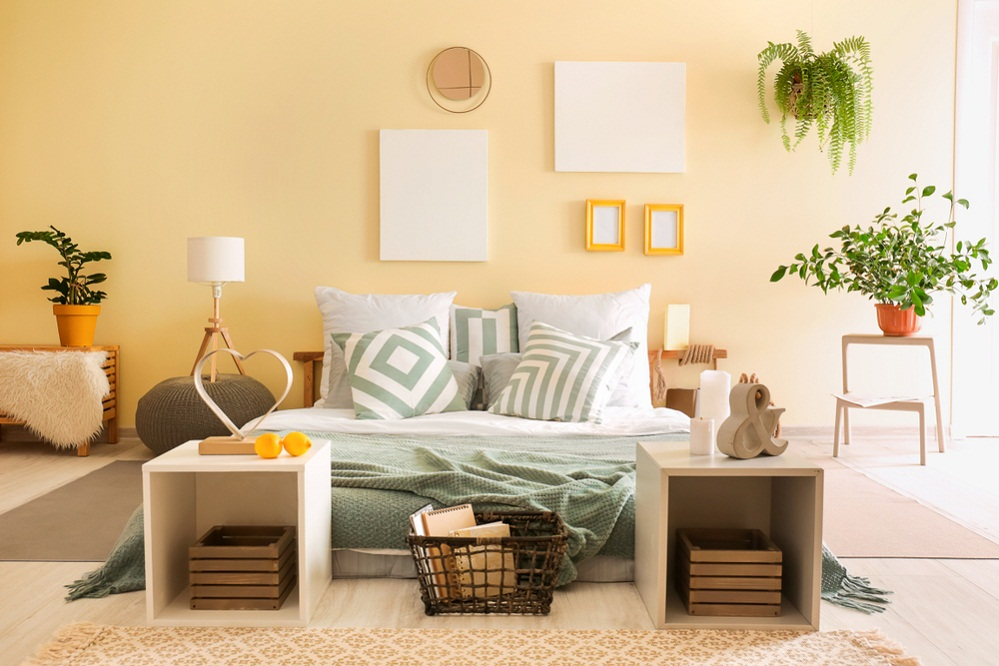 Scandinavian Bedrooms in Lemon Yellow with Checked Patterned