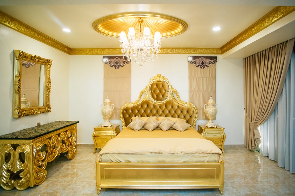 Hollywood Regency Bedrooms in Lemon Yellow with Golden Furniture