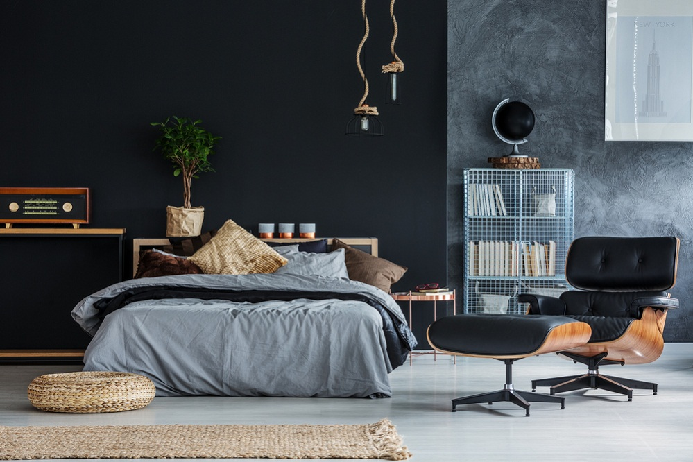 Boho Chic Bedrooms in Soft Black with Backdrop
