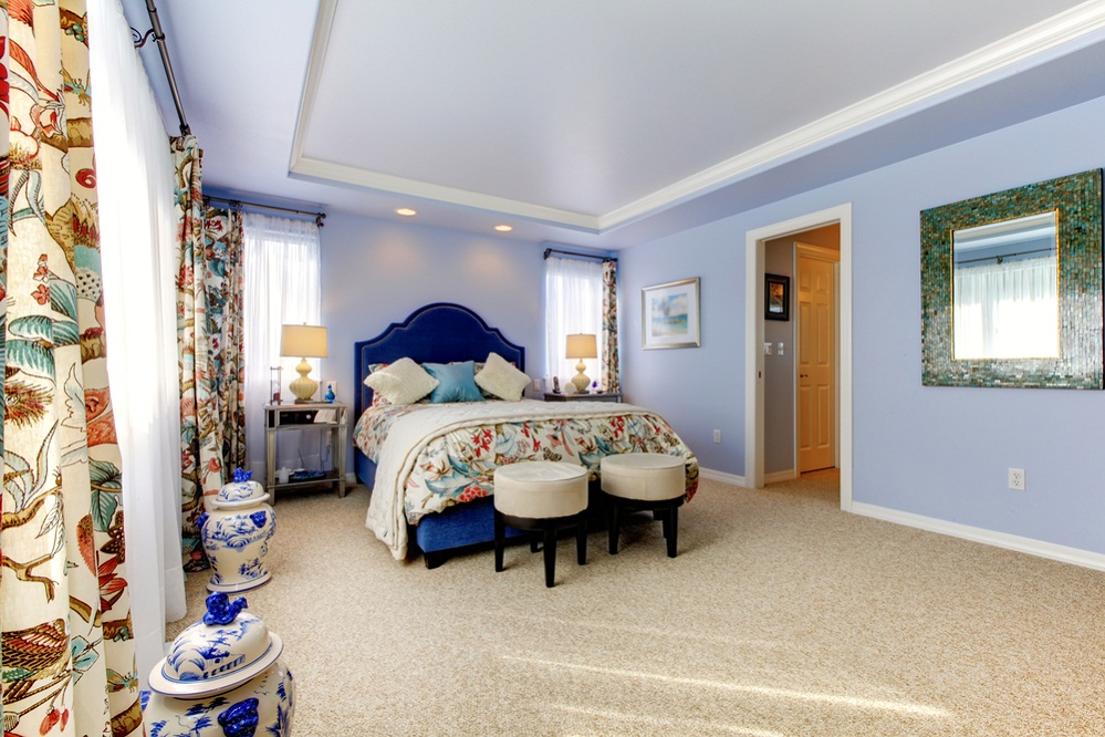 Traditional Bedrooms in Cobalt Blue with Accent Bed