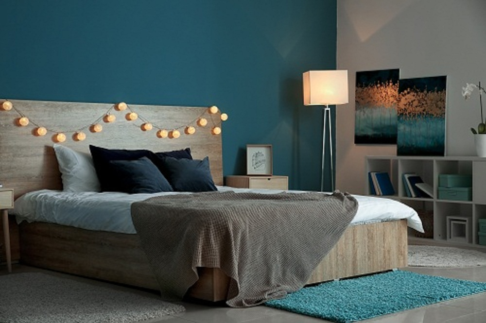 Transitional Bedrooms in Cobalt Blue with Accent Wall