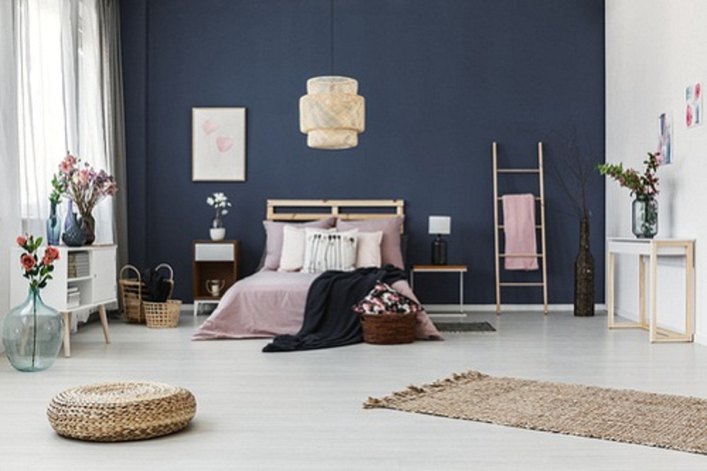 Boho Chic Bedrooms in Cobalt Blue with Accent Wall
