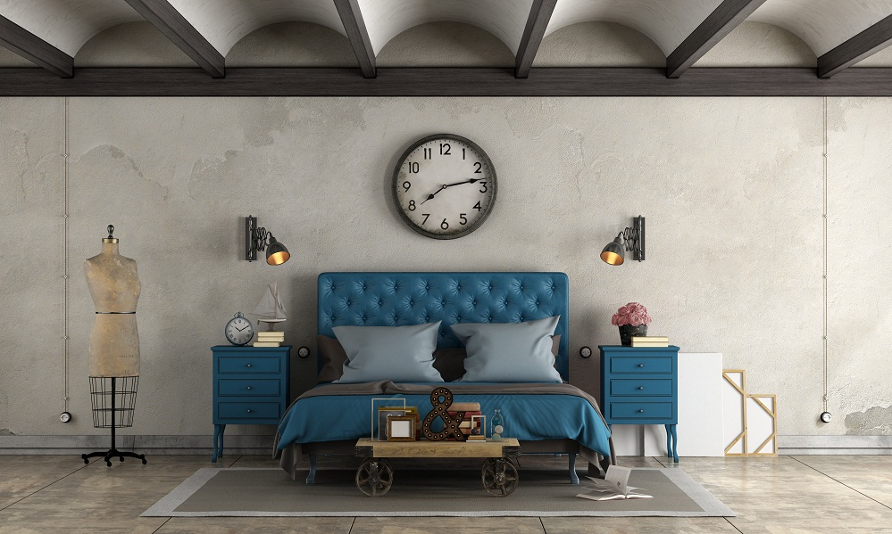 Rustic Bedrooms in Cobalt Blue With Furniture